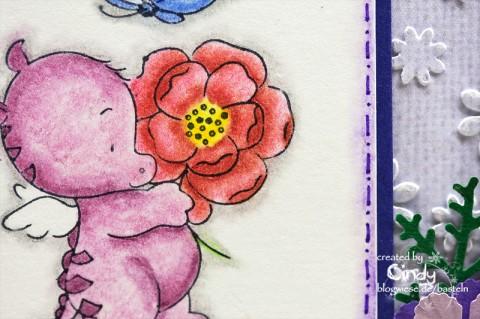 Glückwunschkarte - Smookie mit Blume 1