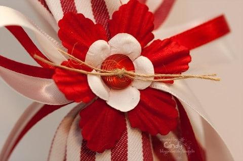 Geschenk Säckchen - Rot Weiß - Flower