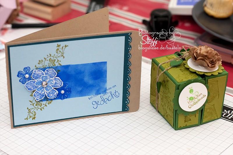 Grußkarte mit grüner Schachtel