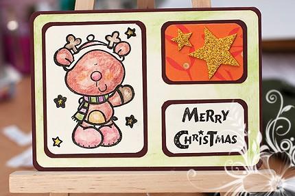 Weihnachskarte mit Rentier
