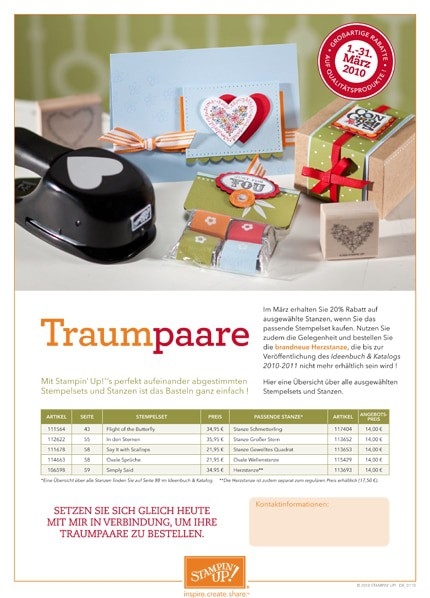 Stampin' Up! Aktion Traumpaare