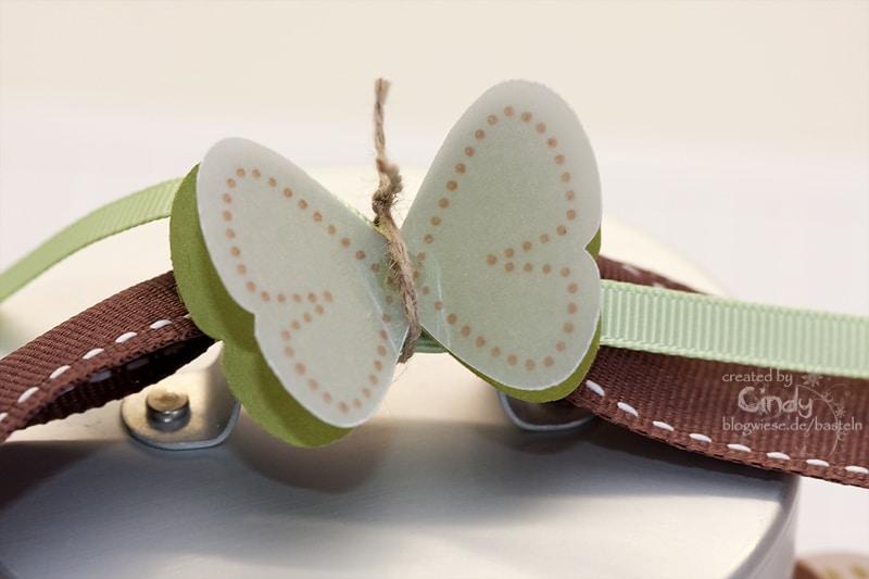 Glas Burken verziert mit Schmetterlingen und Geschenkband - Oben