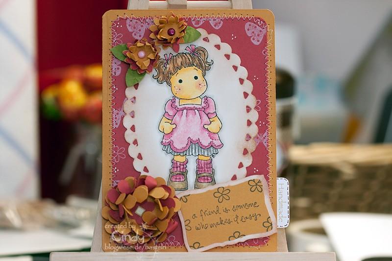 Grußkarte mit Sweet Tilda - genäht