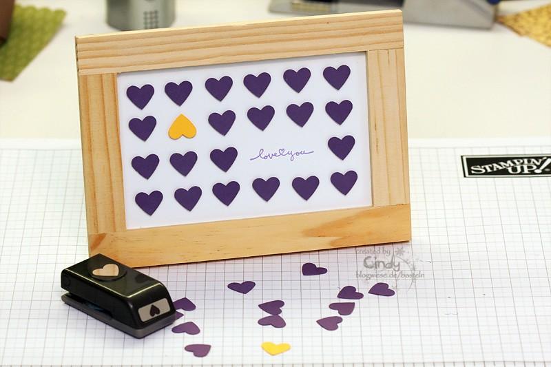 Bilderrahmen - Love You mit kleiner Herzstanze