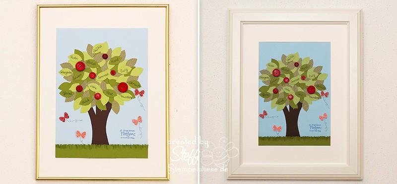 Liebesbaum gerahmt - vorher nachher Vergleich