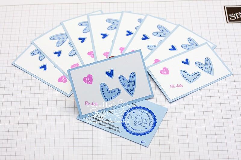 Visitenkarte selber gebastelt - Herzig Stanze