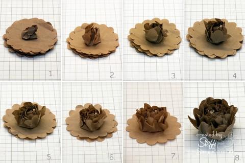 tutorial 3d blume aus packpapier selber machen stempelwiese. Black Bedroom Furniture Sets. Home Design Ideas