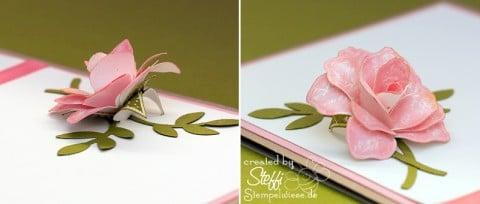Dankeskarte - 3D Rose - Zeitlos