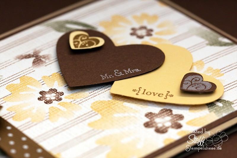 Hochzeitskarte - 2 Herzen - Detail