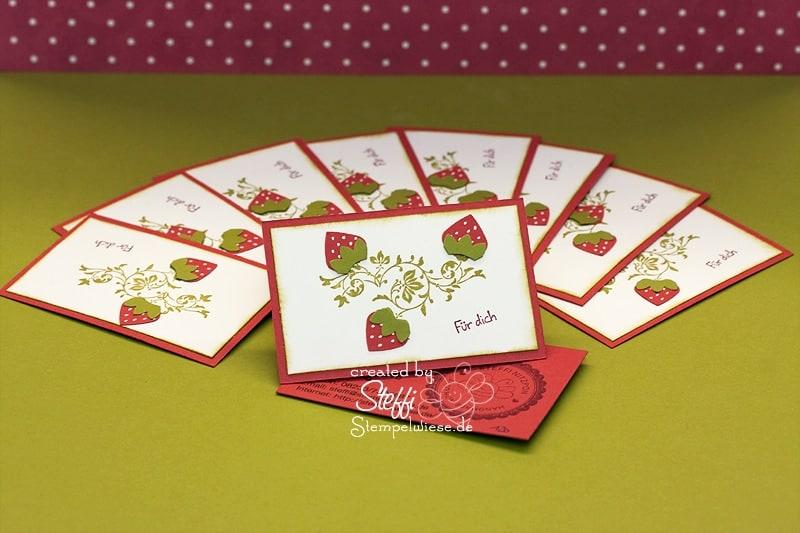 Visitenkarten selber gebastelt – Erdbeeren