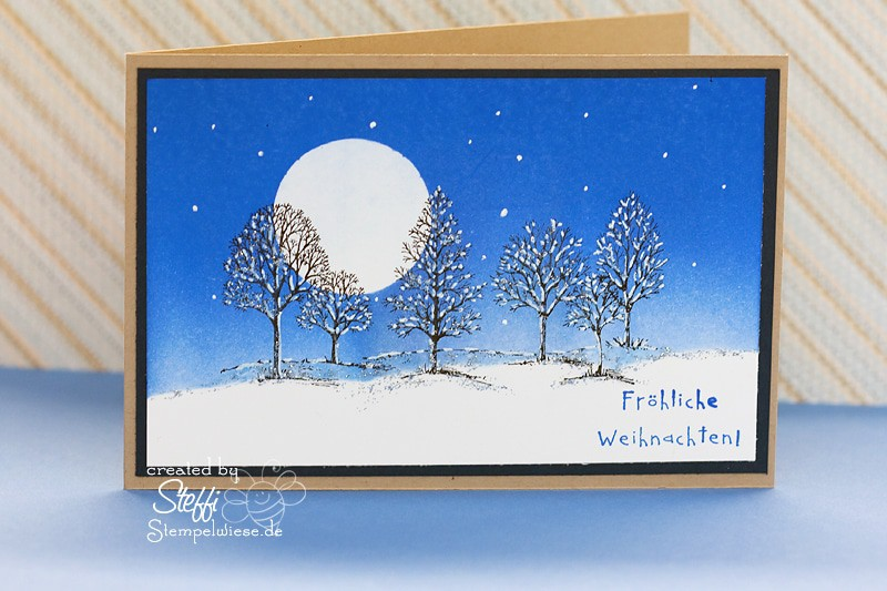 Weihnachtskarte mit Lovely as a Tree - Brayer Technik