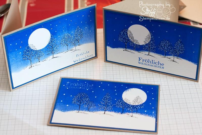 Weihnachtskarte in der Brayer Technik von den Teilnehmern