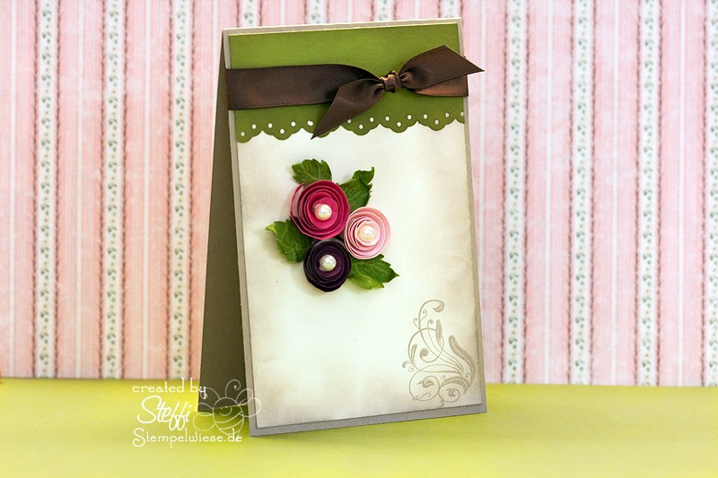 Glückwunschkarte - 3 Rosen