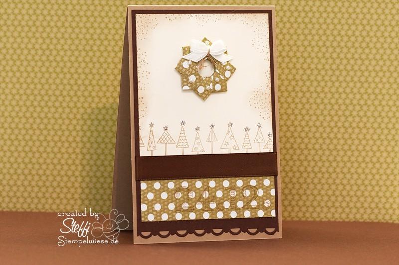 Weihnachtskarte - Origami Kranz 1