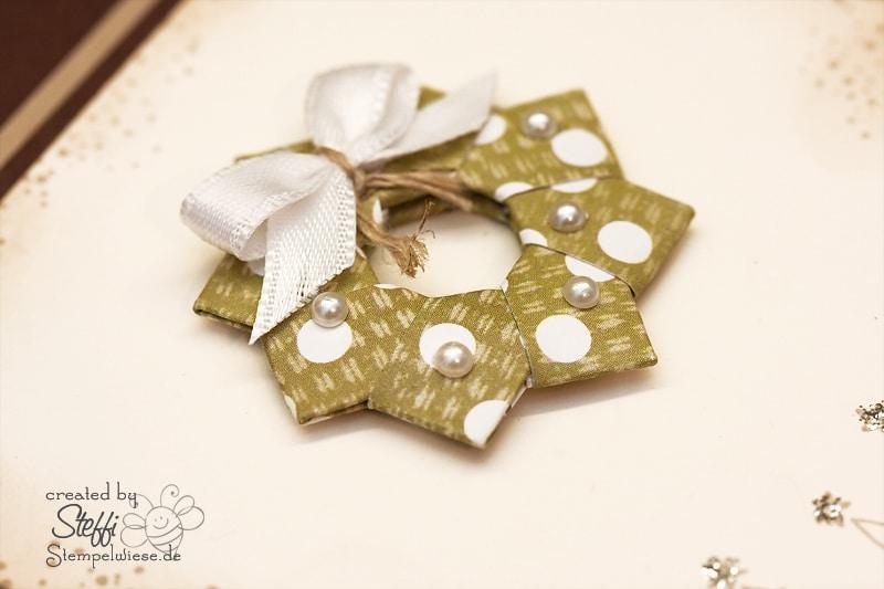 Weihnachtskarte - Origami Kranz 2
