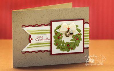 Frohe Weihnachten – Weihnachtskranz und Glöckchen