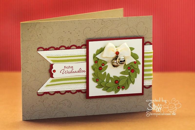 Frohe Weihnachten - Weihnachtskranz und Glöckchen 1