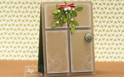 Weihnachtskarte mit Eingangstür und Mistelzweig
