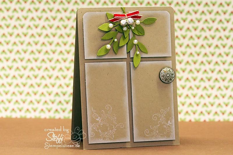 Weihnachtskarte mit Eingangstür und Mistelzweig 1