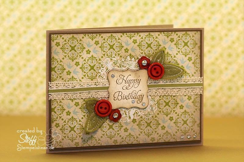 Geburtstagskarte mit Knöpfen und Filzblättern 1