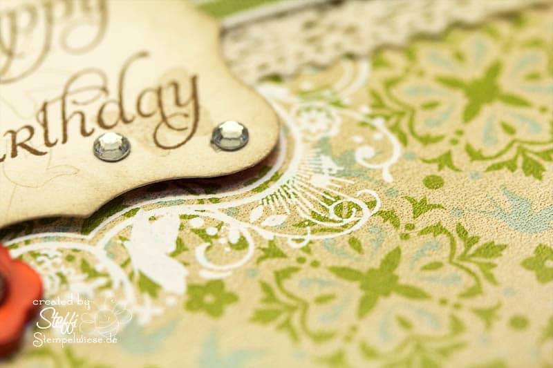 Geburtstagskarte mit Knöpfen und Filzblättern 2