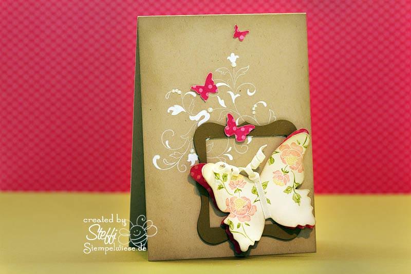 Grußkarte mit gerahmten Schmetterling 1