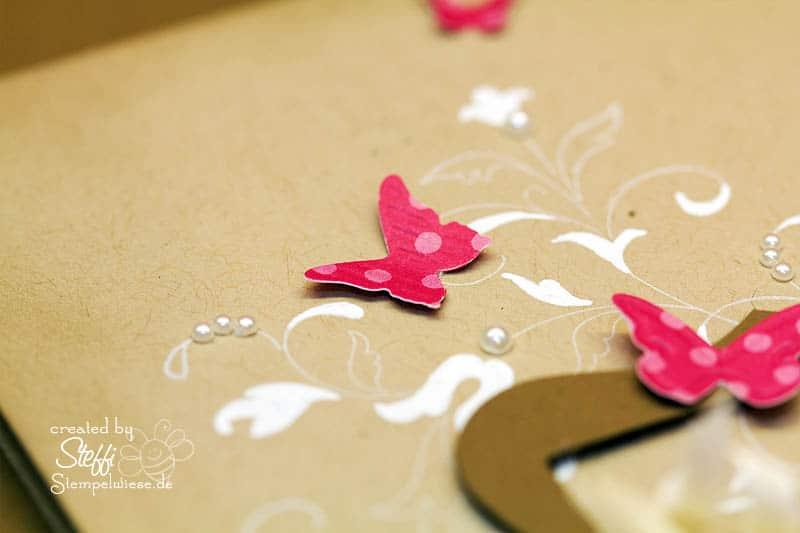 Grußkarte mit gerahmten Schmetterling 2