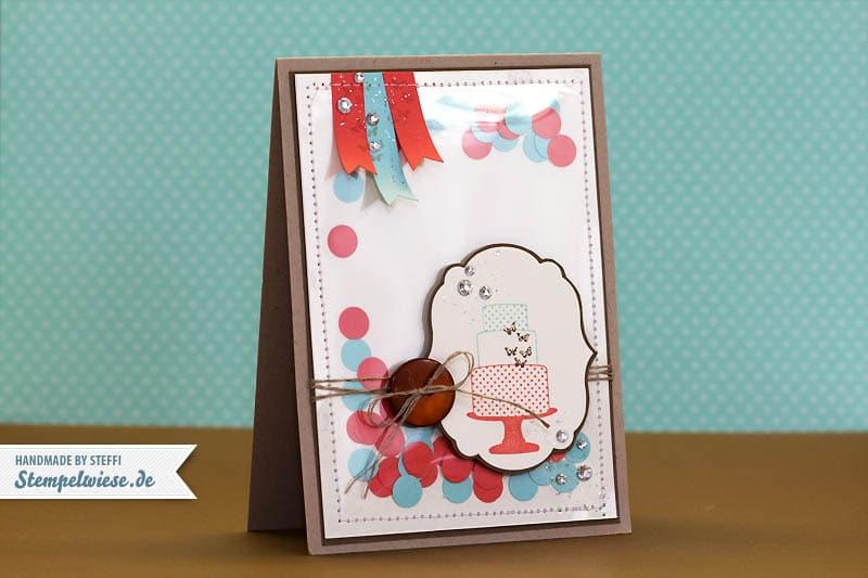 Geburtstagskarte mit eingenähtem Konfetti 1