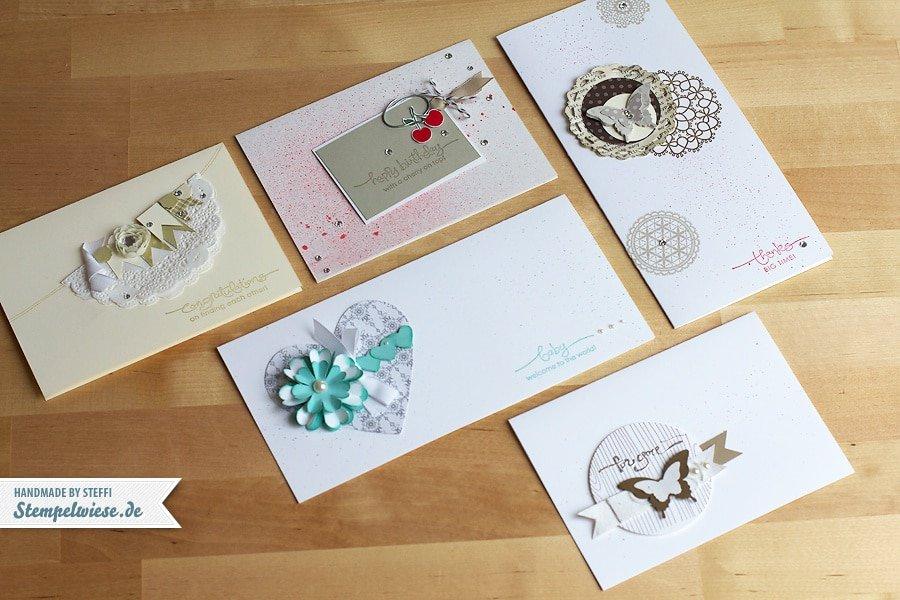5 Grußkarten ♥ Stempelwiese