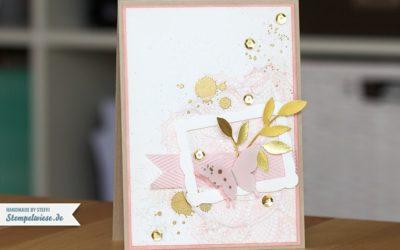 Grußkarte in Kirschblüte und Gold