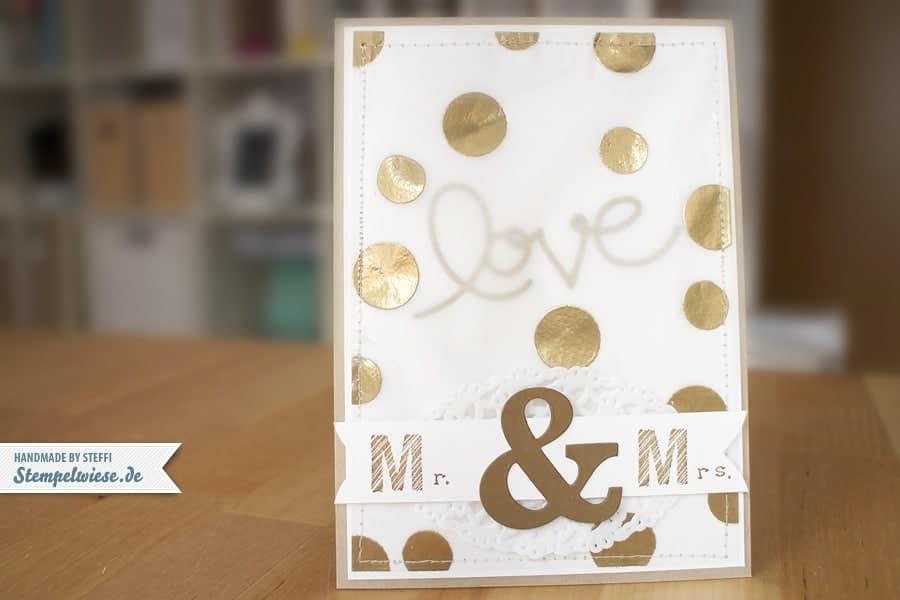 Hochzeitskarte in Gold