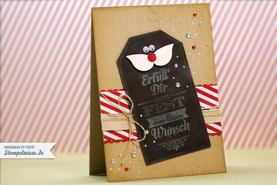 Weihnachtskarte mit Schnurrbart