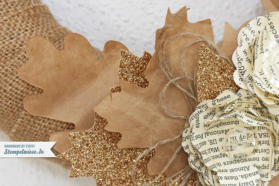 Kranz aus Stampin' Up! Produkten - Herbstzauber, Juteband und Stiefmütterchenstanze