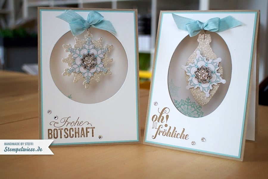 Weihnachtskarte mit Rund ums Fest, Ornament Keepsakes und Flockentanz