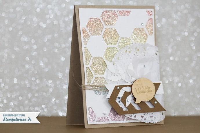 Geburtstagskarte mit regenbogen Glitzerpapier