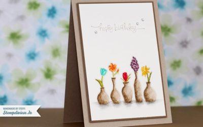 Geburtstagskarte mit Vivid Vases