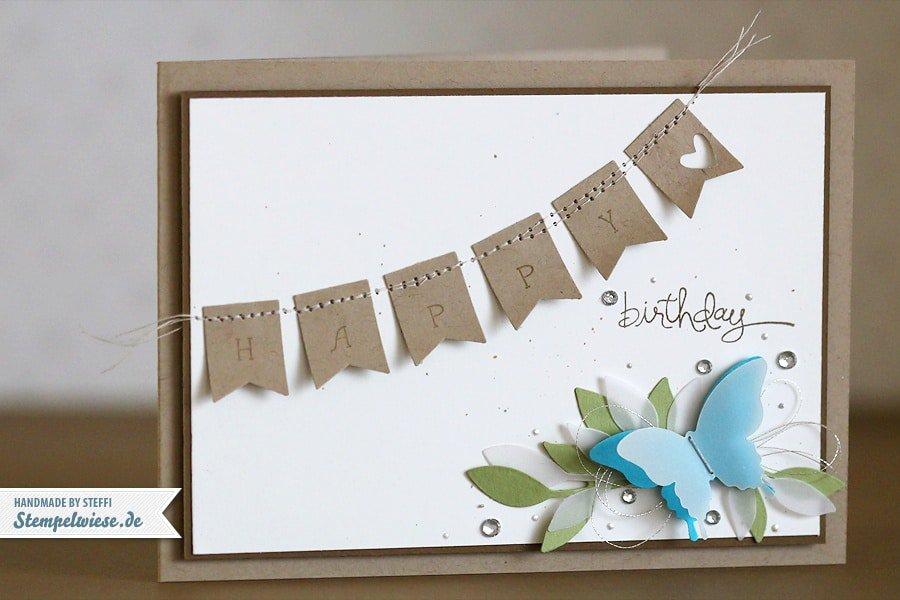 Geburtstagskarte mit Fähnchen