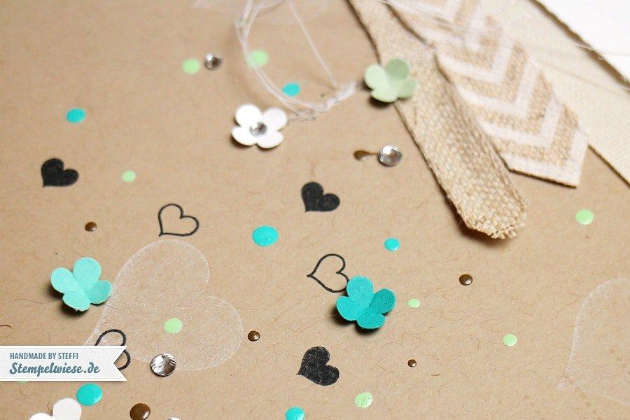 Scrapbook - Wedding Layout in Savanne und Bermudablau, Aquamarin, Pistazie und Flüsterweiß