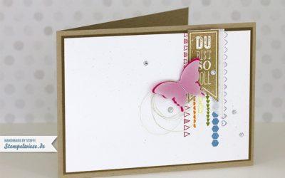 Grußkarte mit Wimpeleien und Borderettes