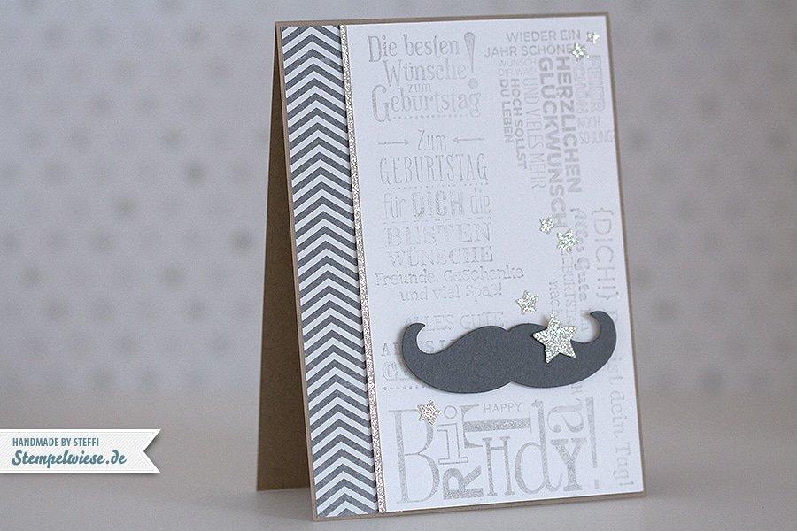 Stampin' Up! - Mustache - Birthday Card - Man - Geburtstagskarte - Schnurrbart ❤ Stempelwiese