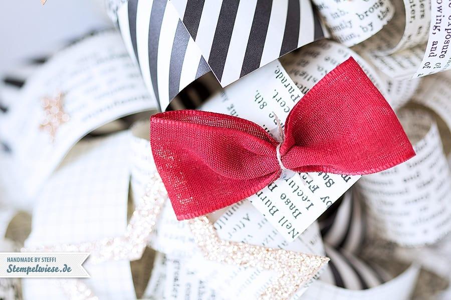 Stampin' Up! - Christmas - Wreath - Türkranz - Papierlocken - Designerpapier - Erstausgabe - Typeset - Linen Ribbon - Chili ❤ Stempelwiese