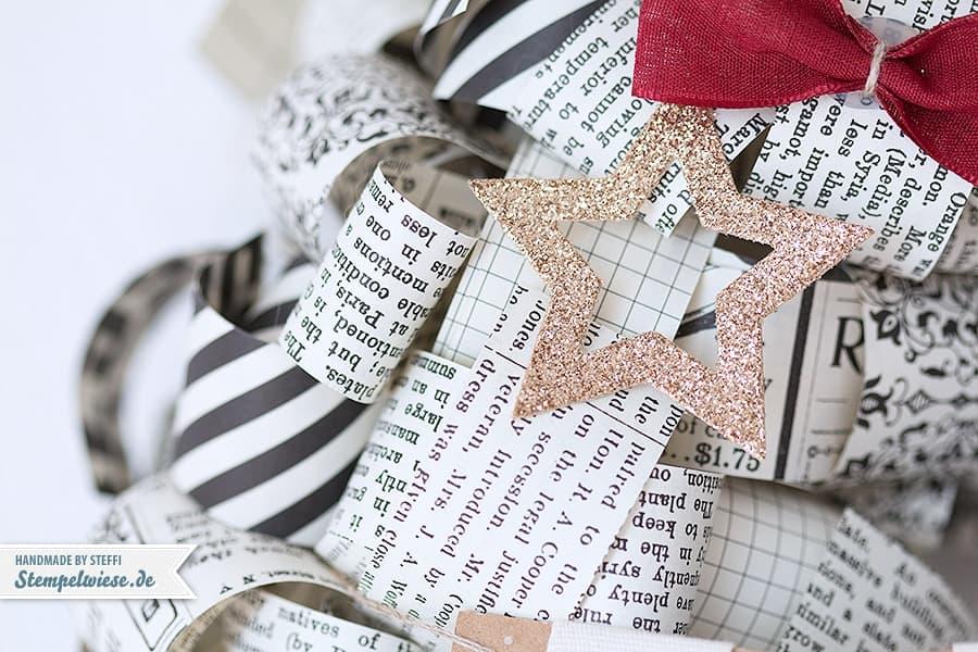 Stampin' Up! - Christmas - Wreath - Türkranz - Papierlocken - Designerpapier - Erstausgabe - Typeset - Stars - Gold ❤ Stempelwiese