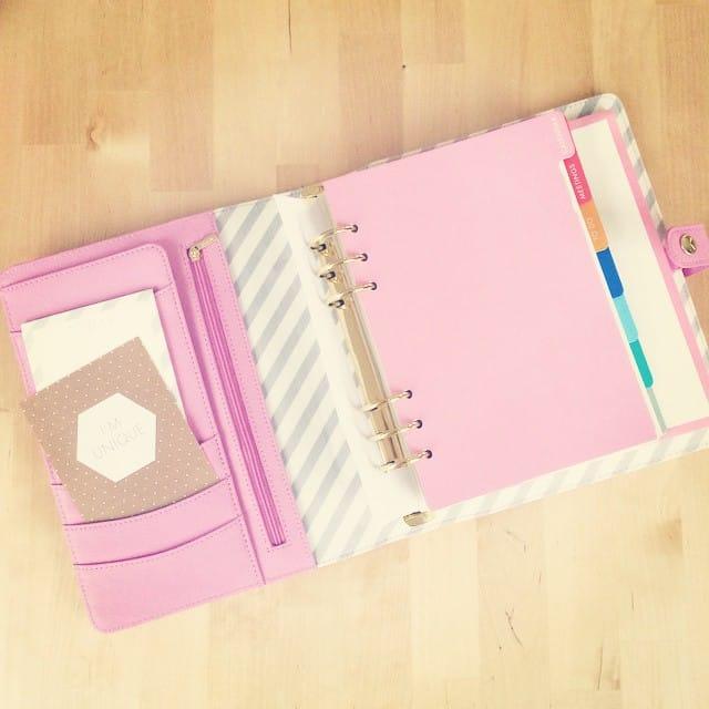 Da isser - mein Terminplaner in Rosa und innen Stoff mit Streifen. So schön <3 #kikkik #planner #unique #love #pink #gold #filofax #stempelwiese