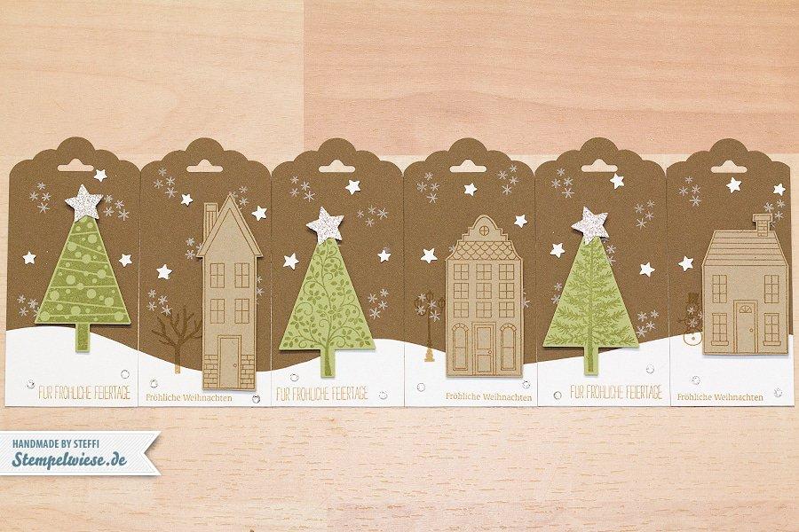 Stampin' Up! - weihnachtliche Geschenkanhänger - Christmas Tags - Aus dem Häuschen - Christbaumfestival ❤ Stempelwiese
