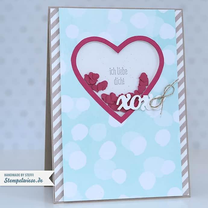 Stampin' Up! - Valentine - Valentinskarte - I love you - Ich liebe dich - xoxo - Shaker Card - Schüttelkarte ❤ Stempelwiese