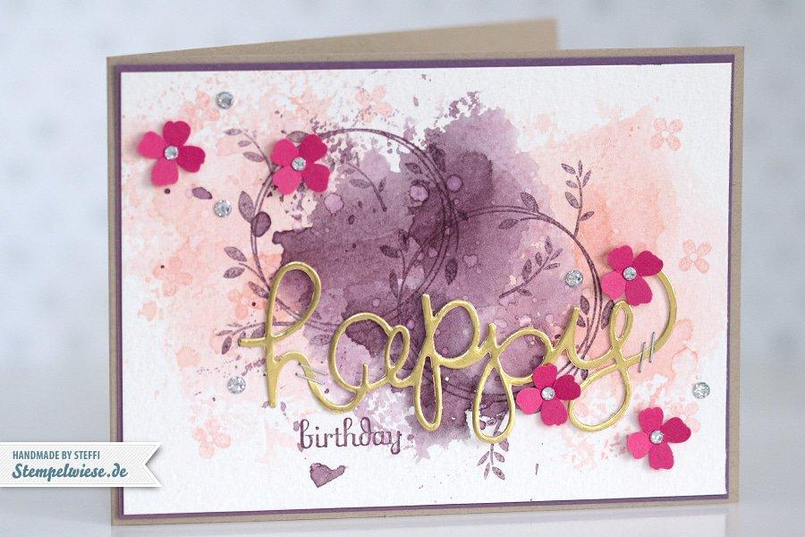Stampin' Up! - Birthday Card - Water Color - Geburtstagskarte - Aquarell - Gold ❤ Stempelwiese Kirschblüte-pflaumenblau-150330