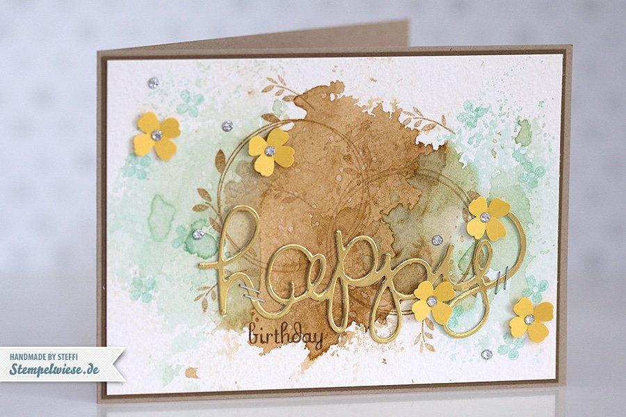 Stampin' Up! - Birthday Card - Water Color - Geburtstagskarte - Aquarell - Gold ❤ Stempelwiese aquamarin-kandiszucker-150330