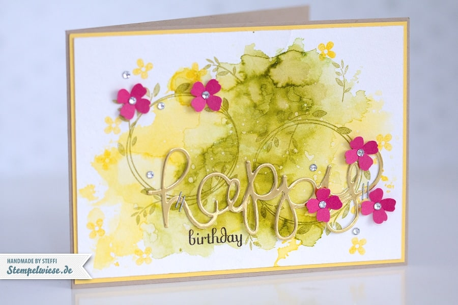 Stampin' Up! - Birthday Card - Water Color - Geburtstagskarte - Aquarell - Gold ❤ Stempelwiese