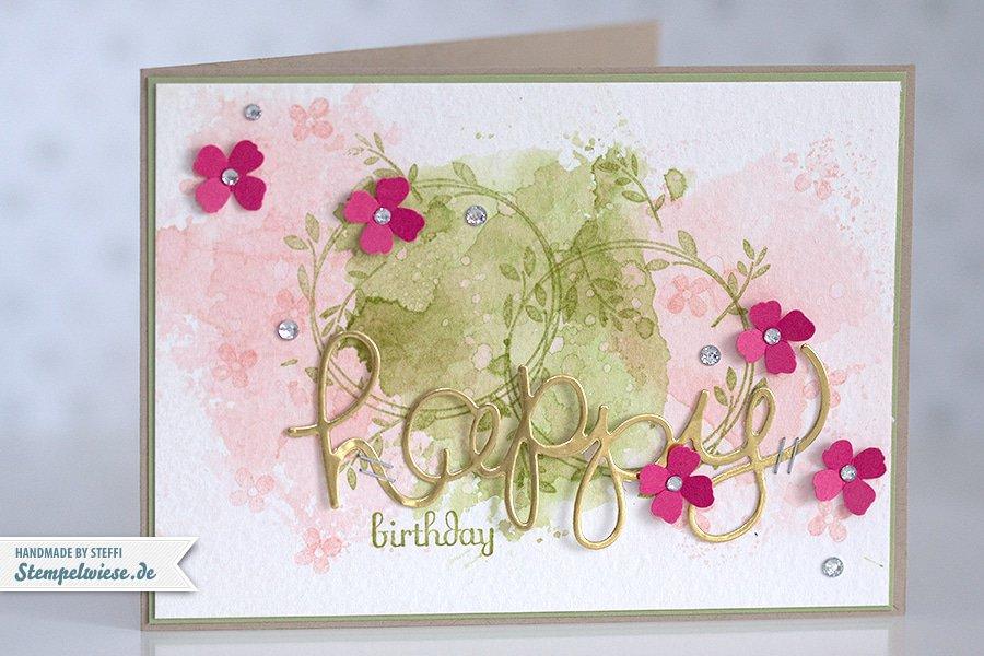 Stampin' Up! - Birthday Card - Water Color - Geburtstagskarte - Aquarell - Gold ❤ Stempelwiese kirschblüte-farngruen-150330