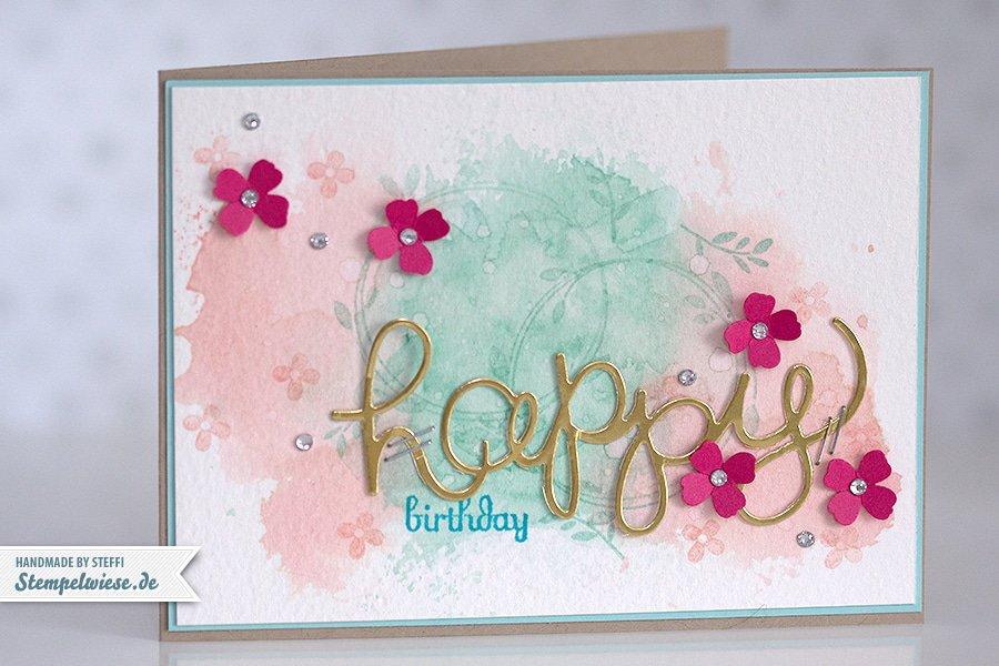 Stampin' Up! - Birthday Card - Water Color - Geburtstagskarte - Aquarell - Gold ❤ Stempelwiese kirschbluete-aquamarin-150330